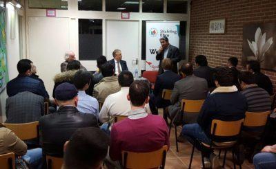 Ondernemers in gesprek met Tweede Kamerlid Erik Ziengs (VVD) tijdens bijeenkomst HOGIAF Twente